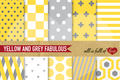 Yellow Grey Digital Paper Pack