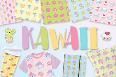 Kawaii (patterns, elements)