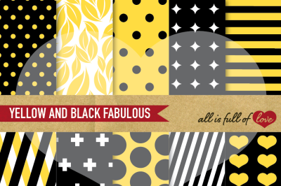 Yellow and Black Digital Paper Pack Geometric patterns