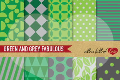 Green Grey Digital Paper Pack