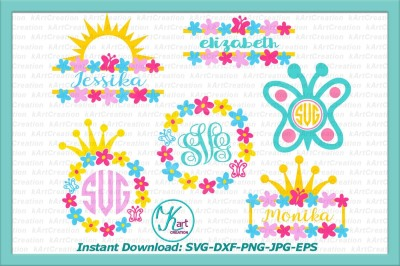 princess monogram svg, butterfly monogram svg, flowers monogram svg