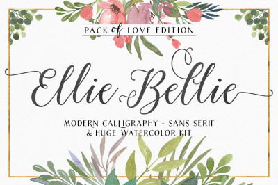Ellie Bellie Font Duo + Watercolor Kit