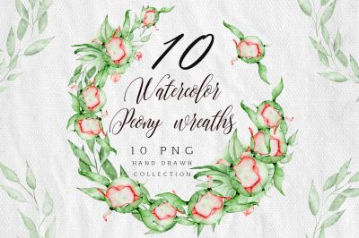Watercolor peonies wreath clipart