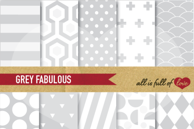 Grey Digital Paper Pack Background Sheets
