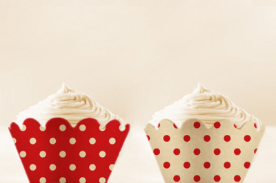 Red Polka Dots Cupcake Wrappers to Print