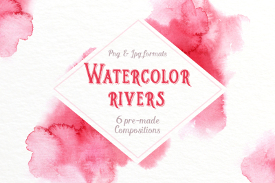 Watercolor rivers. Paint strokes