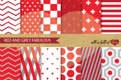 Red Grey Geometric Digital Paper Pack