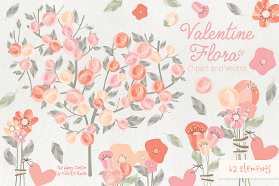 Valentine Flora 01 Flower Heart Clipart Vector Graphics