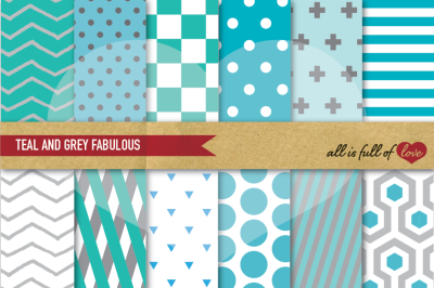 Teal Grey Geometric Digital Paper Pack