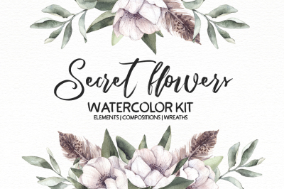 Secret flowers. Watercolor kit