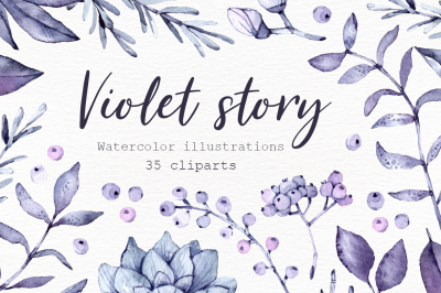 Violet Story. Watercolor clipart
