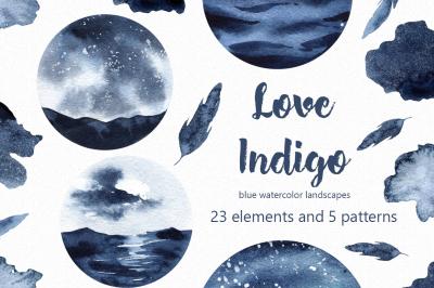 Love Indigo watercolor clipart