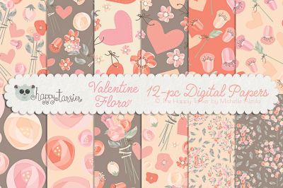 Valentine Flora 01 Seamless Pattern Designs and Digital Papers