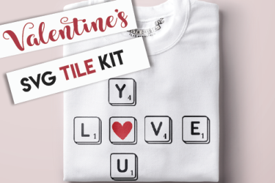 Valentine's Letter Tile Kit SVG