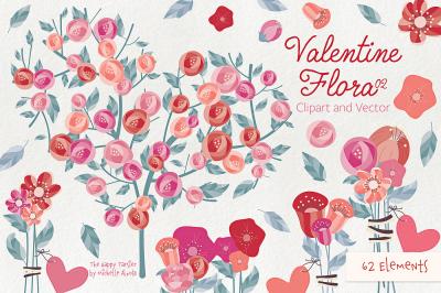 Valentine Flora 02 Flower Heart Clipart Vector Graphics