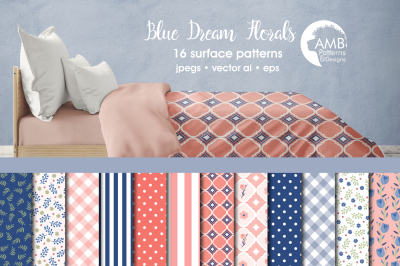 Blue Dream floral patterns, papers AMB-1288