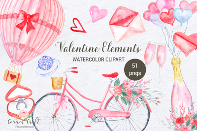 Watercolor Valentine Elements