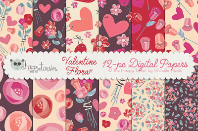 Valentine Flora 02 Seamless Pattern Designs and Digital Papers