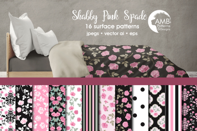 Shabby Pink Spade patterns AMB-1421