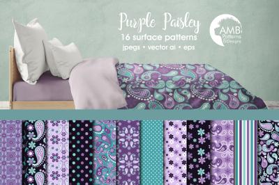 Purple Paisley Patterns, floral paisley patterns  AMB-1458