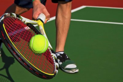 Tennis Forehand at baseline on new court