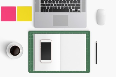 Modern workplace. Top view. Flat lay style. 19