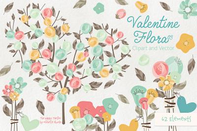 Valentine Flora 03 Flower Heart Clipart Vector Graphics
