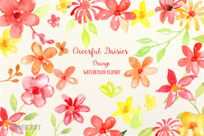 Watercolor Clipart Cheerful Daisies Orange