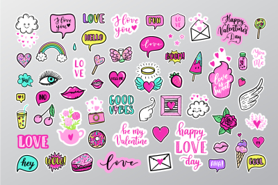 60 Love patches elements