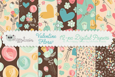 Valentine Flora 03 Seamless Pattern Designs and Digital Papers
