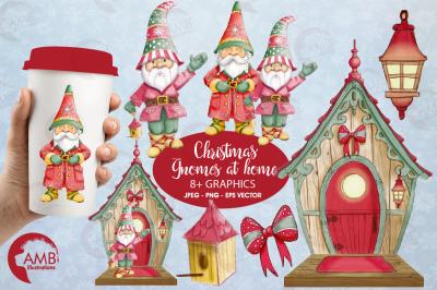 Christmas Gnomes watercolor clipart, grpahics AMB-1543