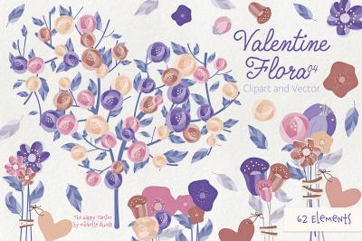 Valentine Flora 04 Flower Heart Clipart Vector Graphics