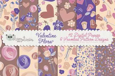 Valentine Flora 04 Seamless Pattern Designs and Digital Papers