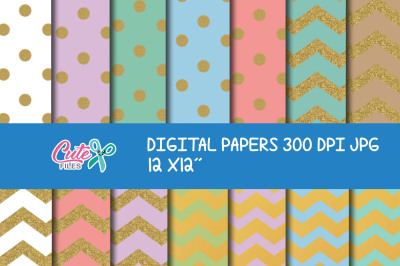 Backgrounds polka glitter, digital paper gold, chevron gold Wallpaper,