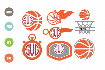Basketball SVG Monogram Frames