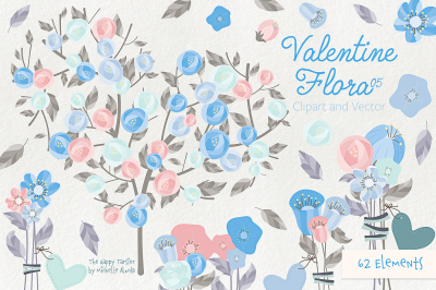 Valentine Flora 05 Flower Heart Clipart Vector Graphics