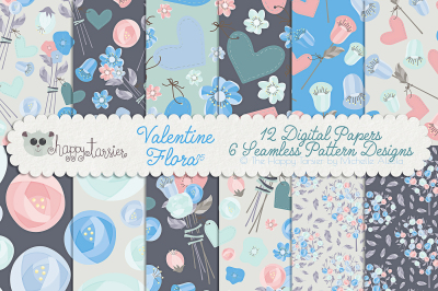 Valentine Flora 05 Seamless Pattern Designs and Digital Papers