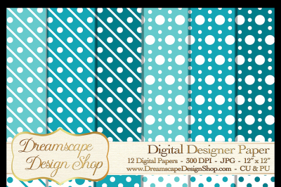 Digital Designer Paper - Teal and White - 12 JPG Images at 300 DPI