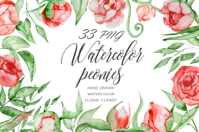 Red peonies Romantic floral watercolor clipart