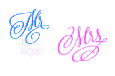 Fancy script Mr and Mrs in six sizes each designed to match.