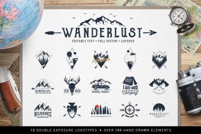 Wanderlust. 15 Double Exposure Logos