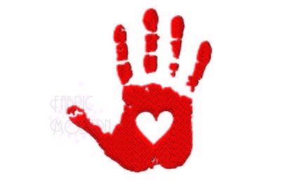 HEART HAND PRINT Embroidery Design,  Filled, 2.5