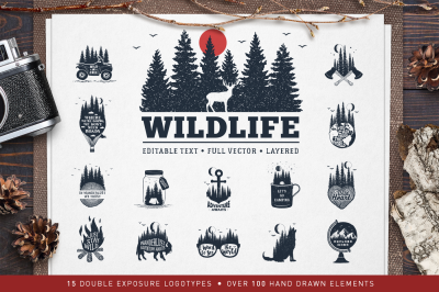 WildLife. 15 Double Exposure Logos