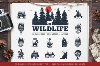 WildLife. 15 Double Exposure Logos