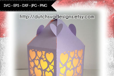 Lantern cutting file with hearts, for Cricut & Silhouette