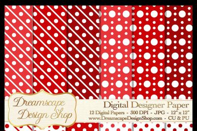 Digital Designer Paper - Red and White - 12 JPG Images at 300 DPI