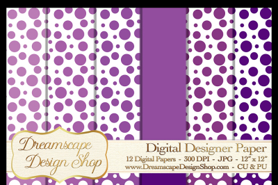 Digital Papers - Purple and White (Set 1) - 12 JPG Images at 300 DPI