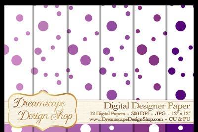 Digital Papers - Purple and White (Set 2) - 12 JPG Images at 300 DPI