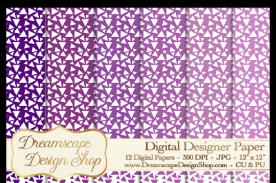 Digital Papers - Purple and White (Set 4) - 12 JPG Images at 300 DPI