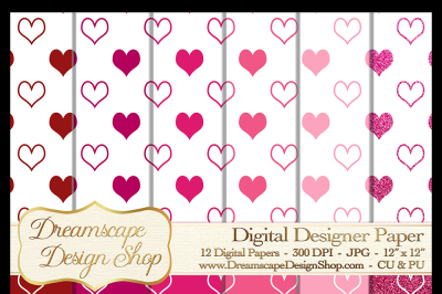 Pink and Red Hearts (Set 1) - Valentine's Day - 12 Digital Papers